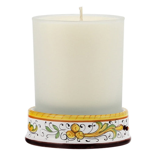 Frosted Glass & Deruta Ceramic Base Candle - Perugino Design