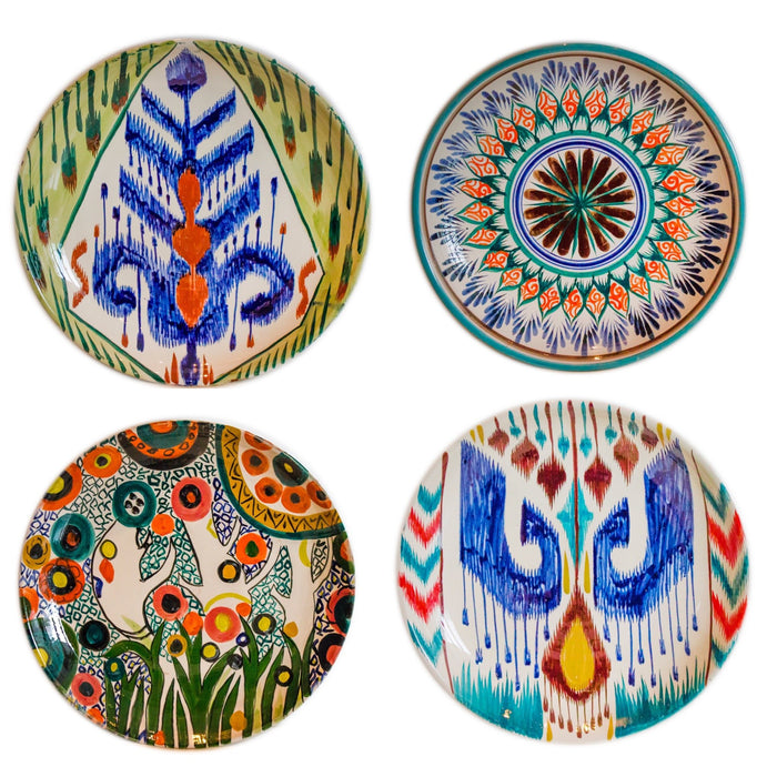 Set of 4 Hand Painted Ikat  Serving Platters 29 cm
