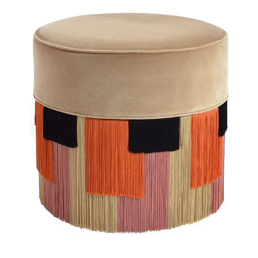 Lino Pouf in Geometric Fringes