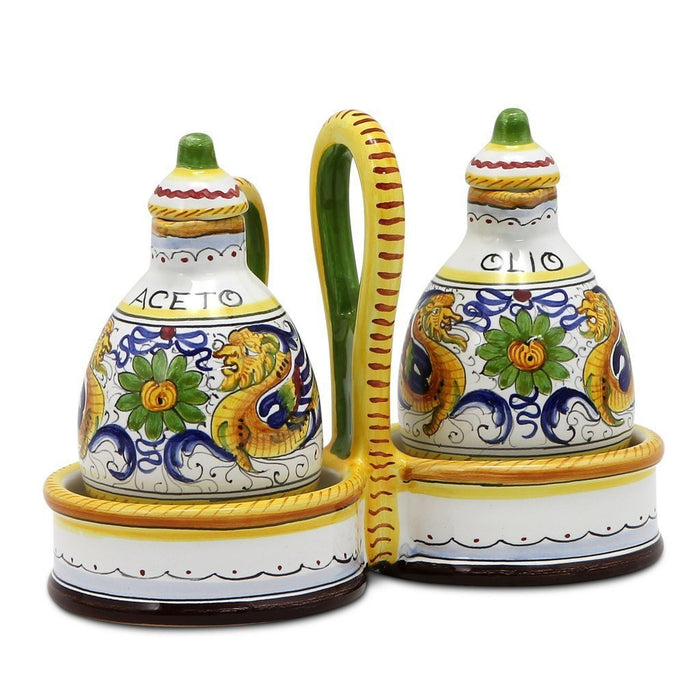 RAFFAELLESCO: Oil and Vinegar cruets set with caddy