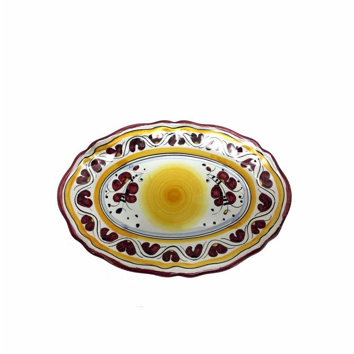 "ORVIETO RED ROOSTER: Small Oval Tray 9"" x 6"""