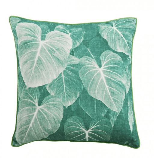 Tropical leaves linen pillow cover