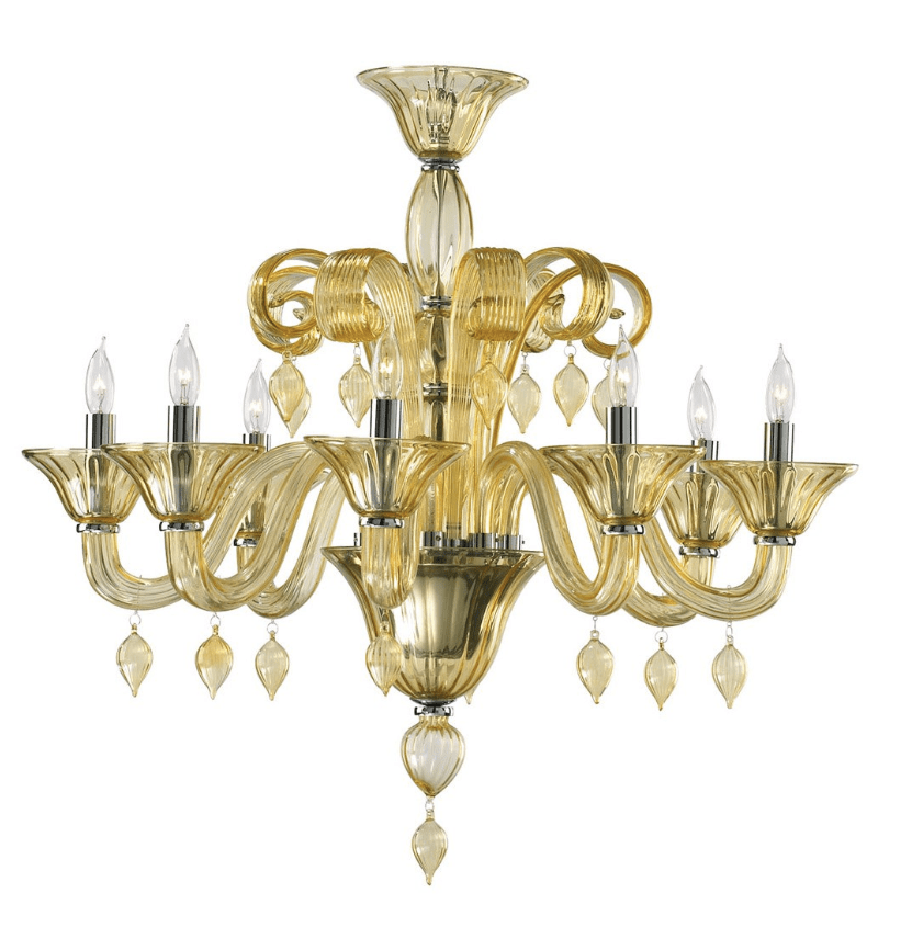 Eight Light Chandelier in Amber Murano Crystal