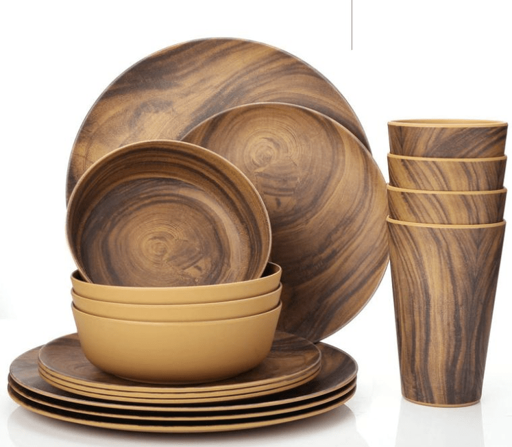 Bamboo Dinnerware 12 Piece Set Eco-Friendly Table Setting Indoor//Outdoor