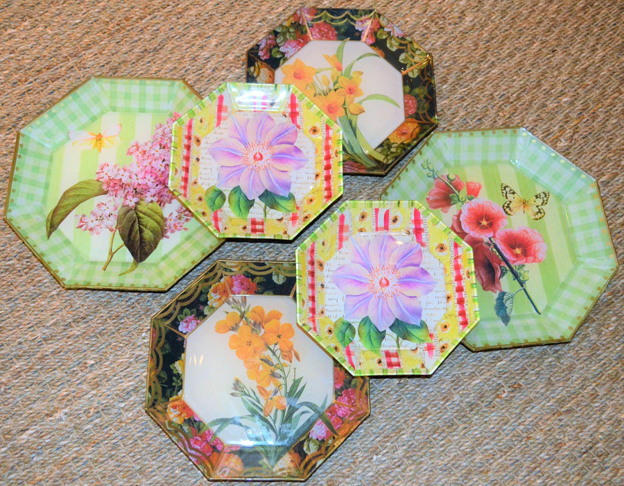 Botanical Decorative  Vintage Decoupage Plates Set of 6