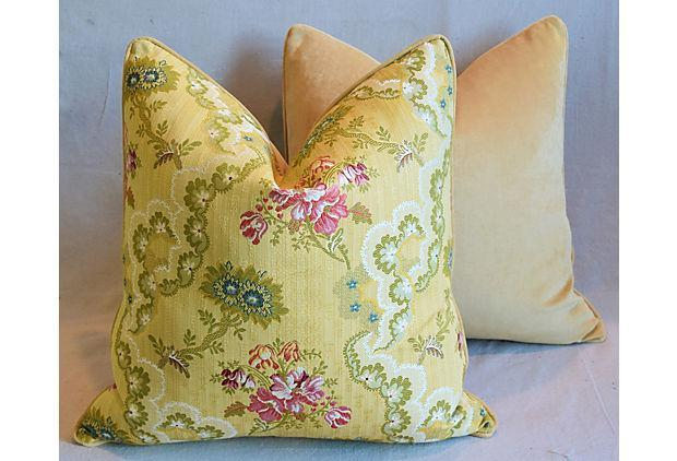 "Scalamandre Silk Feather/Down Pillows 24"" Square - a Pair"