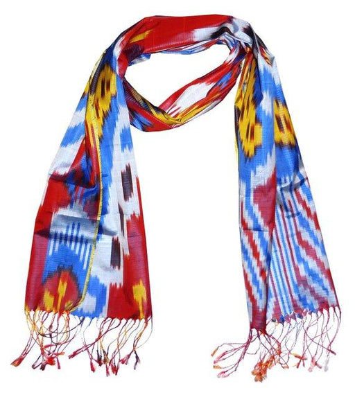 Handwoven Ikat Pure Natural Silk Scarf -Uzbekistan Sold