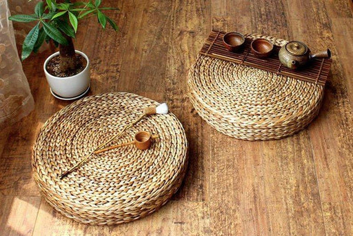 Handwoven  wood floor cushion