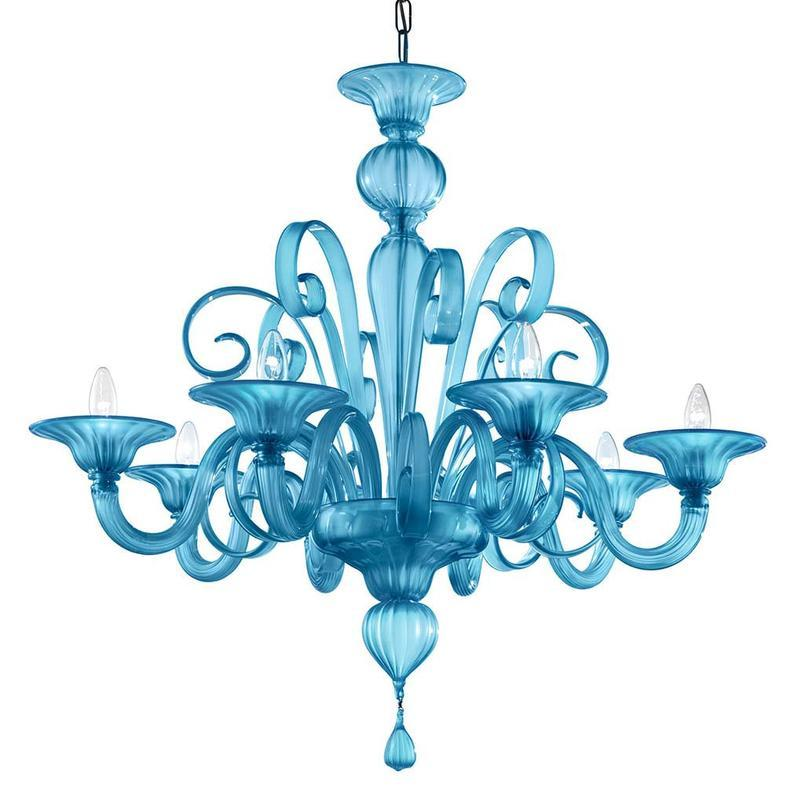 Modern Murano Glass Chandelier Aqua Blue, 6 Lights