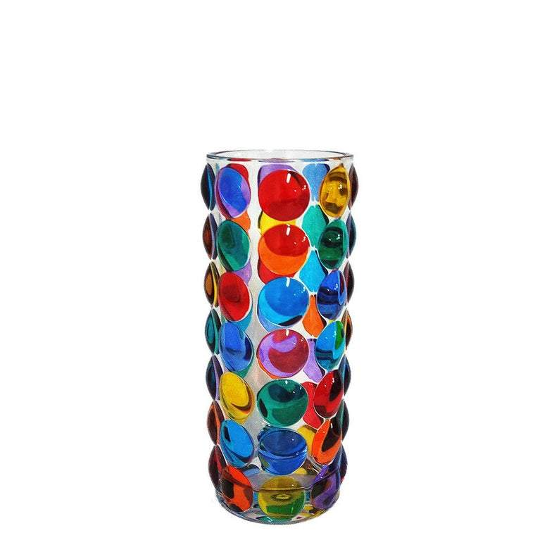 Vase Bubbles multicolor hand-painted crystal glass Murano style