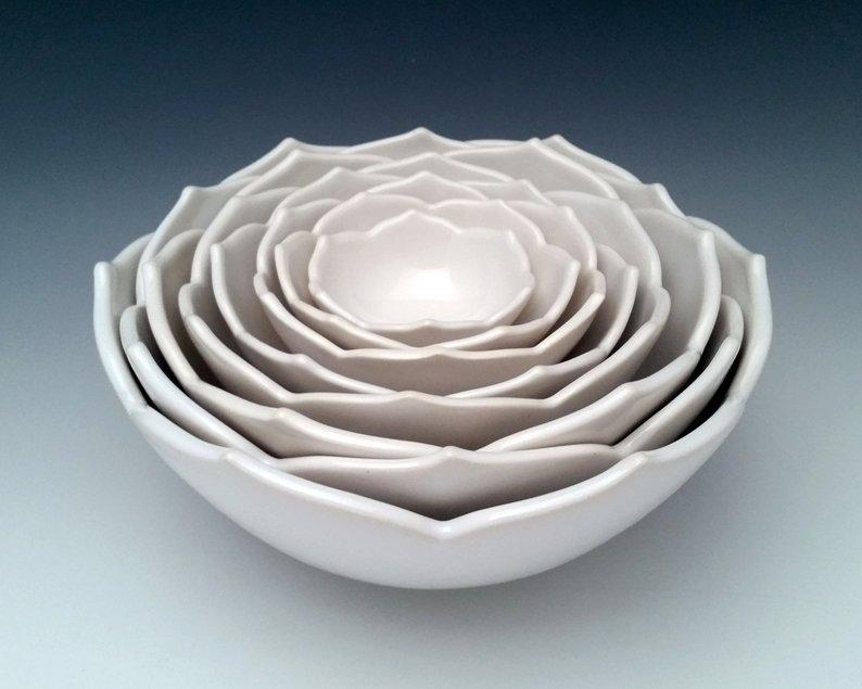 Lotus Ceramic Serving Bowls Set of 8