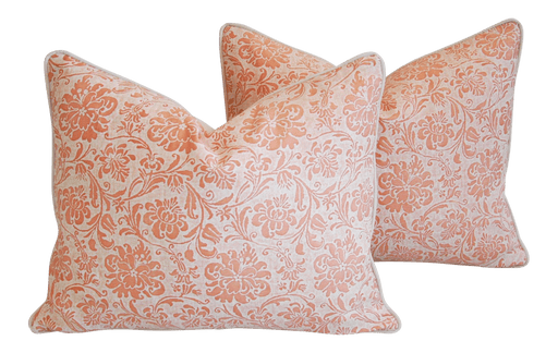 "Fortuny Cimarosa Feather/Down Pillows 23"" x 18"" - Pair Italian"