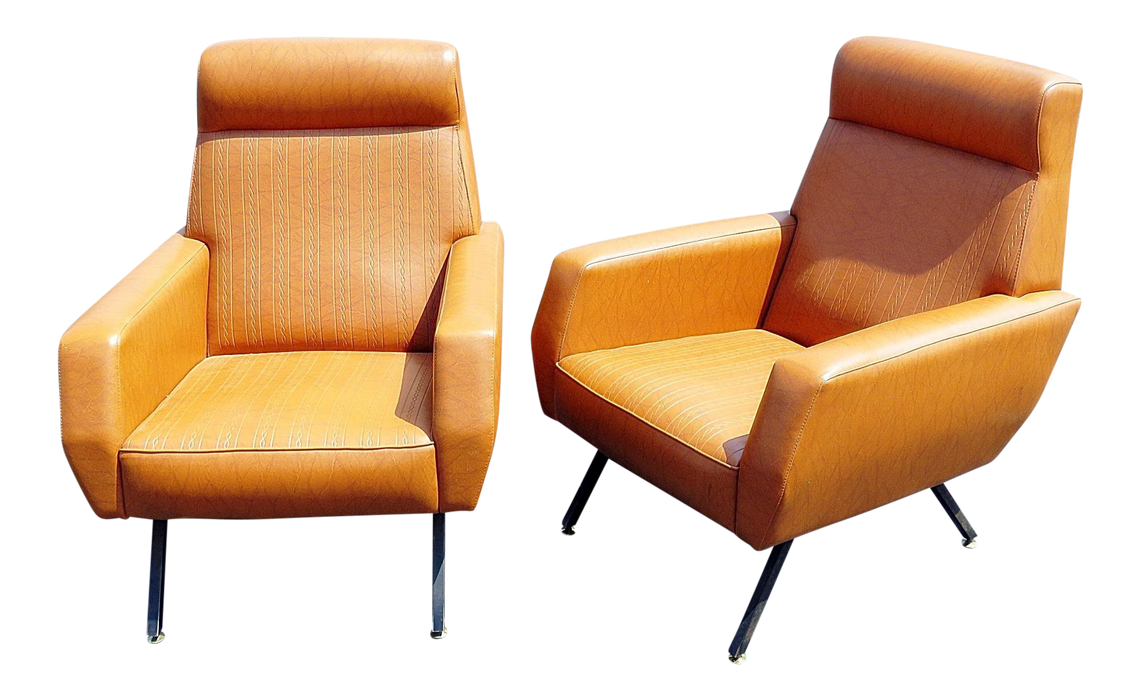 Mid-Century Italian Modern Lounge Chairs - a Pair