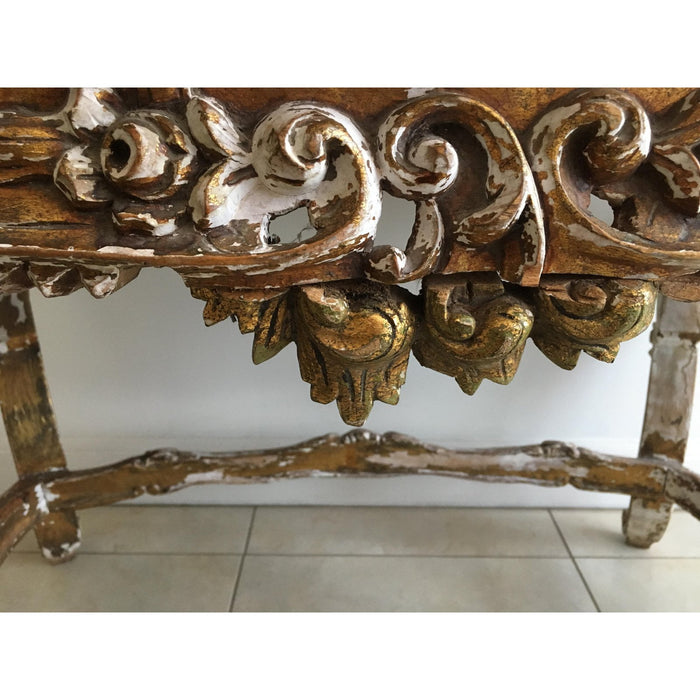 Louis XV Rococo-Style Tufted Bench