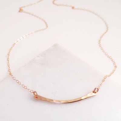 Mini hammered crescent necklace
