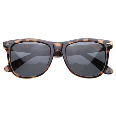 Classic large polarized lens horned rim sunglasses