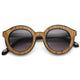 Block cut pattern round sunglasses