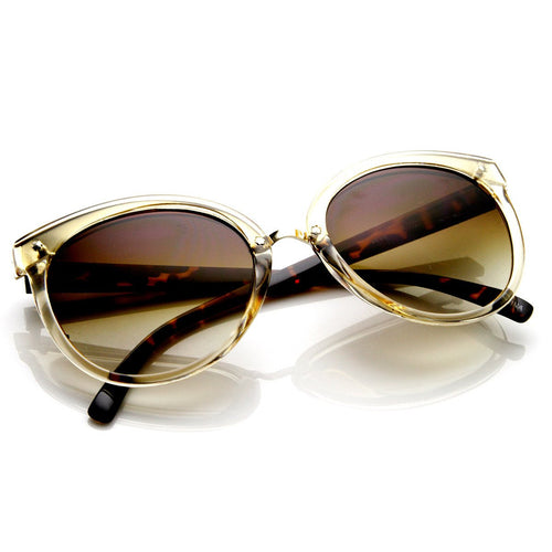 Retro oversized round cat eye sunglasses