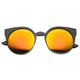Women's Round Metal Cat Eye Mirrored Lens Sunglasses 9919