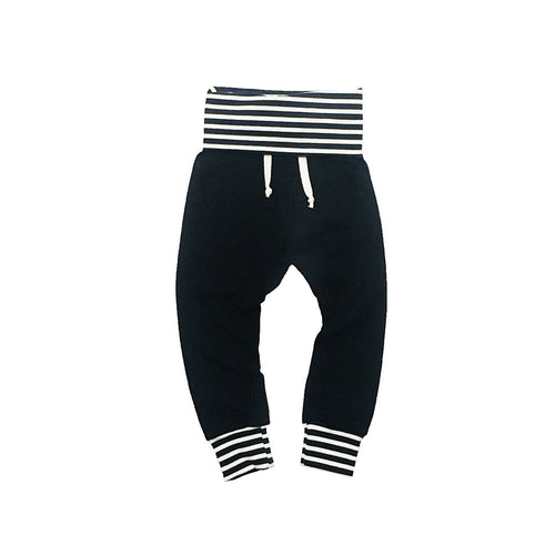 Black and striped joggers