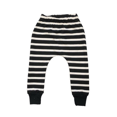 Black and white striped harem pants