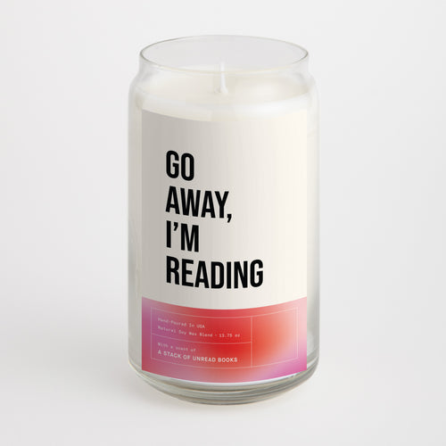 Go Away I'm Reading candle