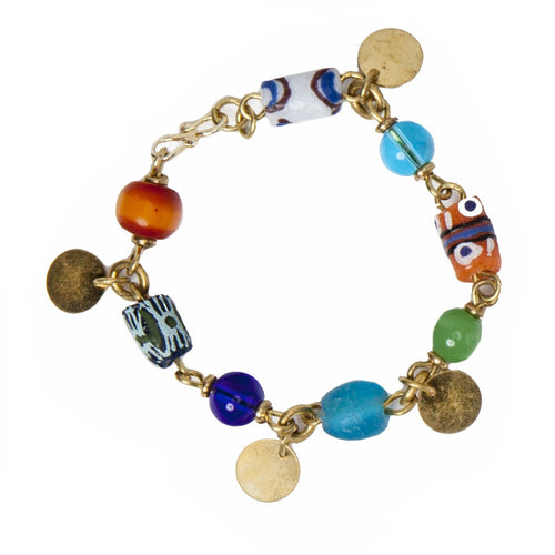 Brass and trade bead charm bracelet
