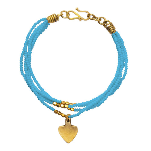 Beaded Ushanga bracelet in turquoise with heart charm