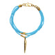 Beaded Ushanga bracelet in turquoise with brass quill charm