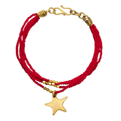 Red beaded Ushanga bracelet with brass star charm