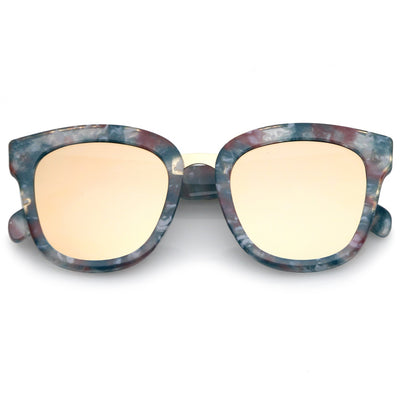 d39cfb691964 Women s Marble Mirrored Flat Lens Cat Eye Sunglasses C152. zeroUV