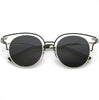 Women's Metal Laser Cut Horned Rim Cat Eye Sunglasses C435