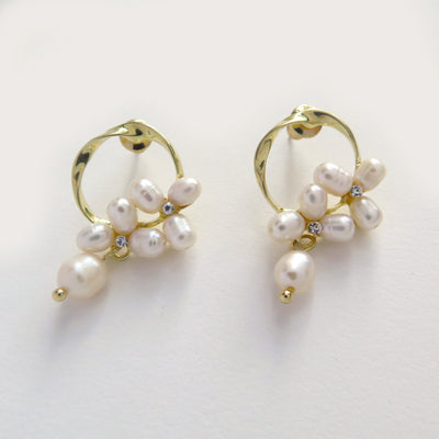 Camellia pearl earrings