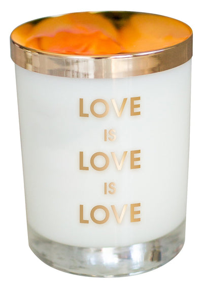 Love Is Love Candle - Gold Foil Rocks Glass