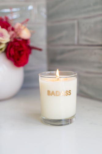 Badass Candle - Gold Foil Rocks Glass