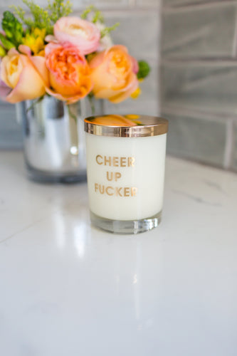 Cheer Up Fucker Candle - Gold Foil Rocks Glass