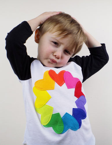 Rainbow hearts baseball tee