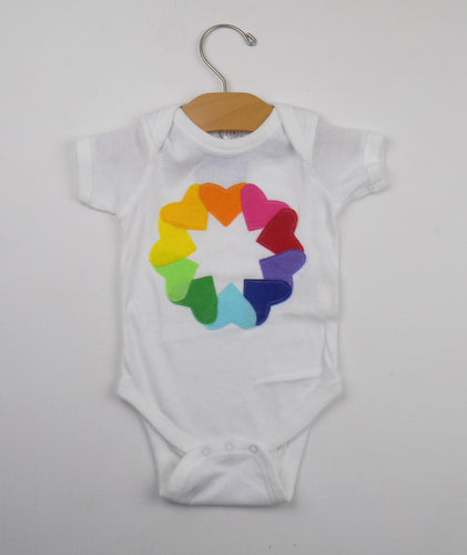 Rainbow hearts onesie