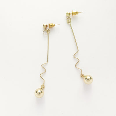 Electric Wave gold earrings