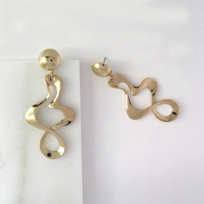 Gold ripple earrings