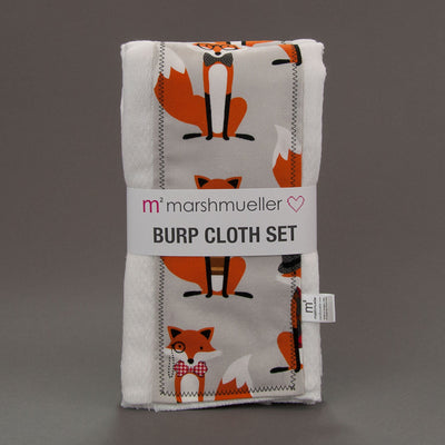 Dapper Foxes burp cloth set