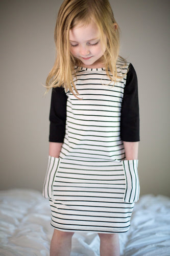 Black and striped pocket t-shirt dress