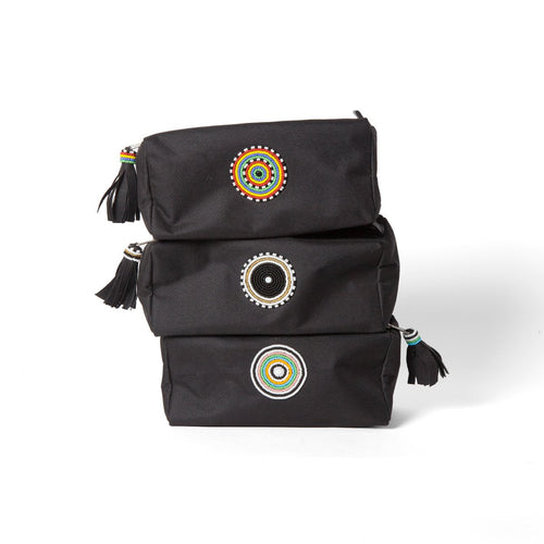 Kenyan beaded canvas dopp kit