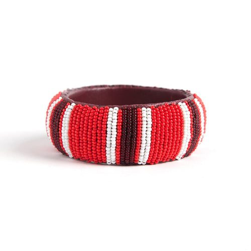 Sewn beaded bangle in red