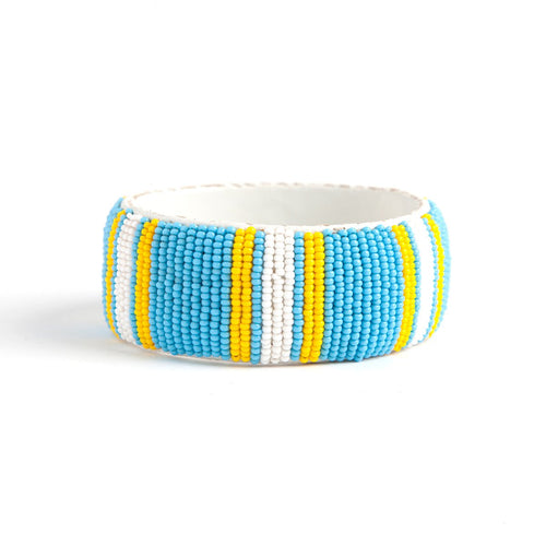 Sewn beaded bangle in turquoise