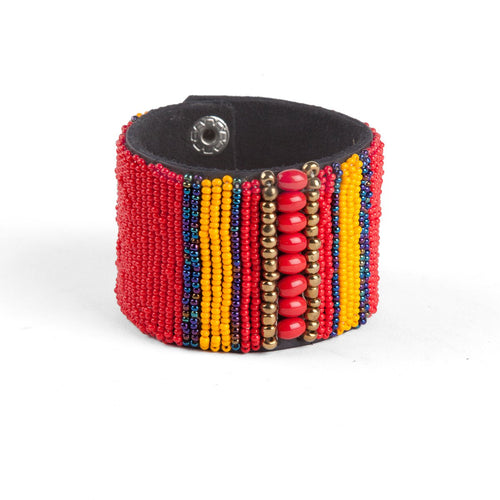 Kenyan beaded snap bracelet