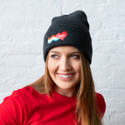 Mama rainbow patch beanie