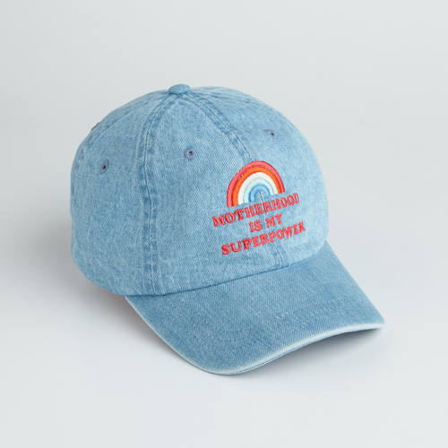 Motherhood is My Superpower denim hat