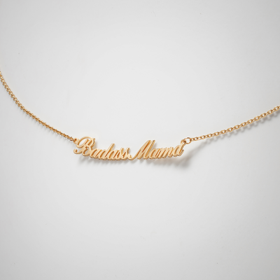 Badass Mama script necklace