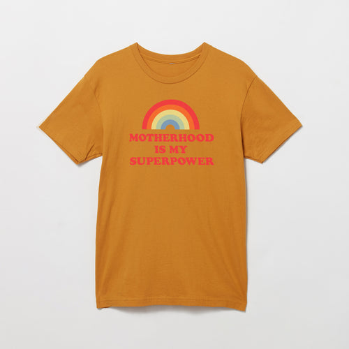 Motherhood Is My Superpower rainbow t-shirt